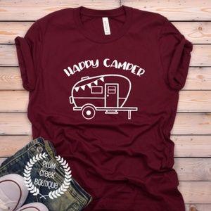 Vacation Tees Happy Camper Burgundy TShirt NEW NWT